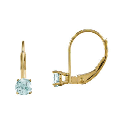 Genuine Aquamarine 14K Yellow Gold Aquamarine Earrings