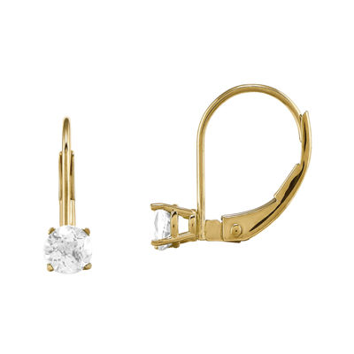 Genuine White Topaz 14K Yellow Gold Drop Earrings