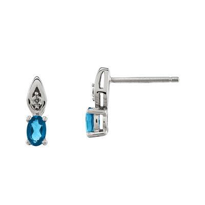 Genuine Swiss Topaz Diamond-Accent 14K White Gold Earrings