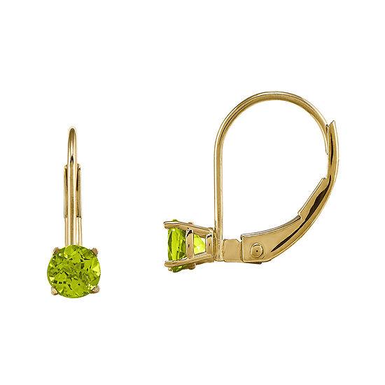 Genuine Green Peridot 14K Yellow Gold Drop Earrings