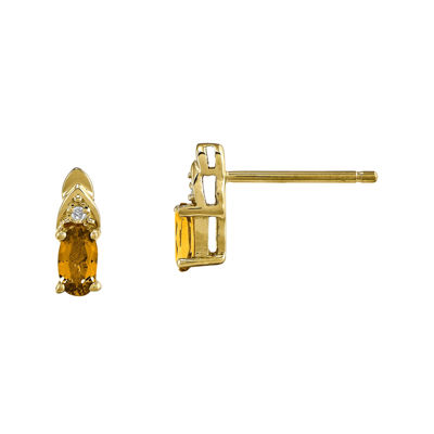 Genuine Yellow Citrine Diamond-Accent 14K Yellow Gold Earrings