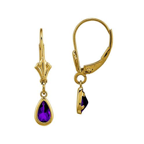 Genuine Purple Amethyst 14K Yellow Gold Pear Drop Earrings
