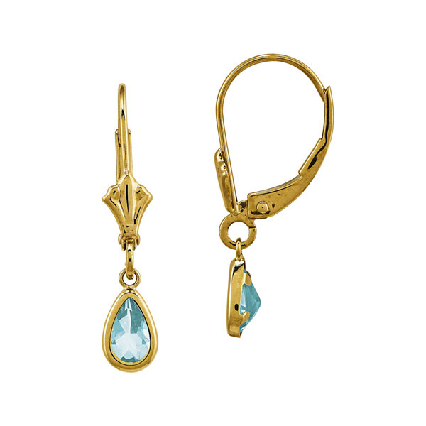 Genuine Aquamarine 14K Yellow Gold Pear Drop Earrings