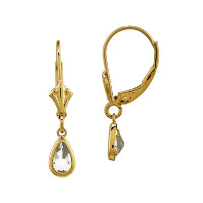 Genuine White Topaz 14K Yellow Gold Pear Drop Earrings