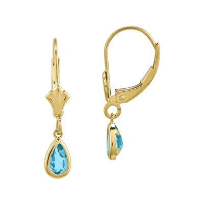 Genuine Swiss Blue Topaz 14K Yellow Gold Blue Topaz Earrings