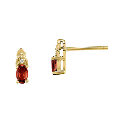 Genuine Red Garnet Diamond-Accent 14K Yellow Gold Earrings