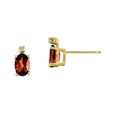 Genuine Red Garnet Diamond-Accent 14K Yellow Gold Diamond Earrings