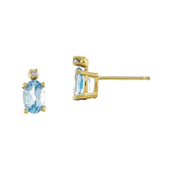 Genuine Aquamarine Diamond-Accent 14K Yellow Gold Earrings