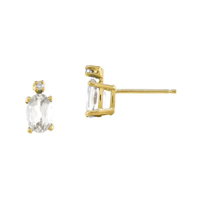 Genuine White Topaz Diamond-Accent 14K Yellow Gold Earrings