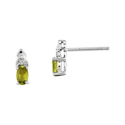 Genuine Green Peridot Diamond-Accent 14K White Gold Earrings