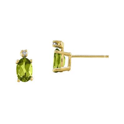 Genuine Green Peridot Diamond-Accent 14K Yellow Gold Earrings