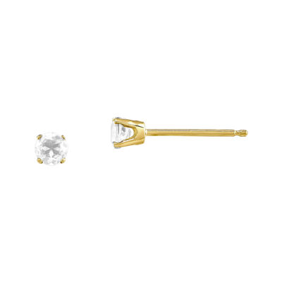 3mm Round Genuine White Topaz 14K Yellow Gold Stud Earrings