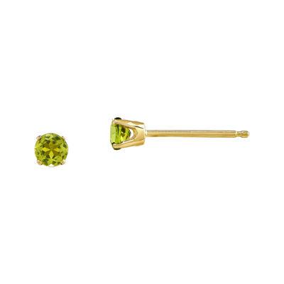 3mm Round Genuine Peridot 14K Yellow Gold Stud Earrings