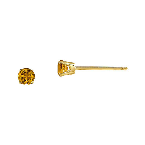 3mm Round Genuine Citrine 14K Yellow Gold Stud Earrings