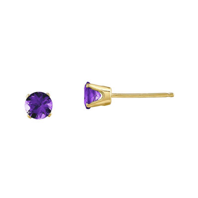 4mm Round Genuine Amethyst 14K Yellow Gold Stud Earrings