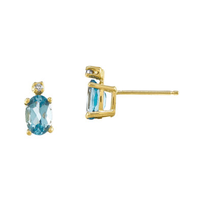 Genuine Swiss Blue Topaz Diamond-Accent 14K Yellow Gold Earrings