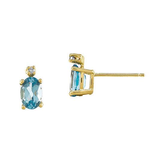 Genuine Swiss Blue Topaz Diamond-Accent 14K Yellow Gold Earrings