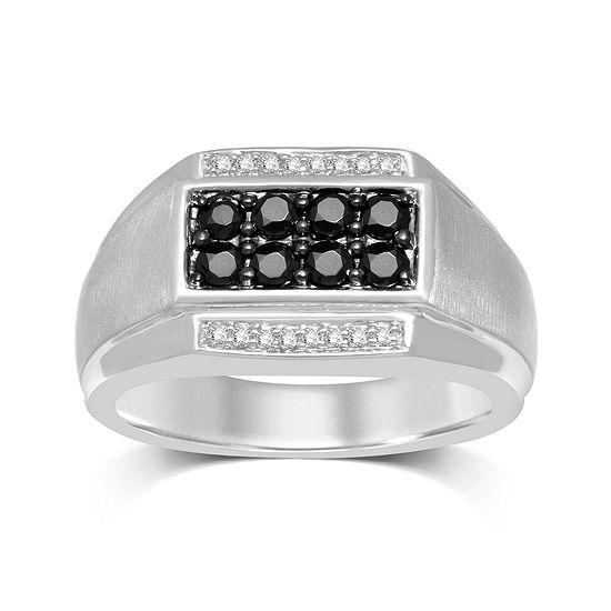 Mens 3/4 CT. T.W. Color-Enhanced Black Diamond Sterling Silver Ring