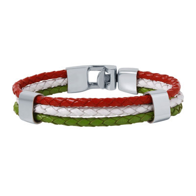 Mens Tri-Color Leather Stainless Steel Bracelet