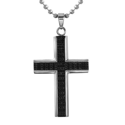 Mens 1/2 CT. T.W. Color-Enhanced Black Diamond Stainless Steel Cross Necklace
