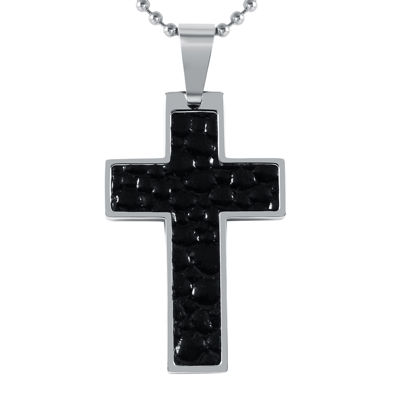 Mens Leather Stainless Steel Cross Pendant