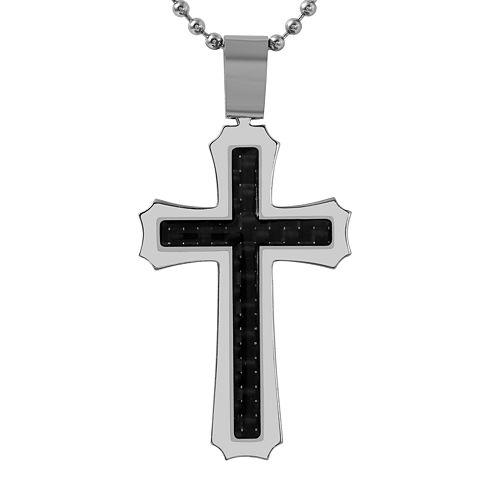 Mens Carbon Fiber Stainless Steel Cross Pendant