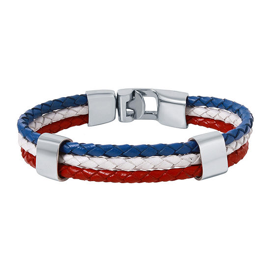 Mens Tri Color Leather Stainless Steel Bracelet