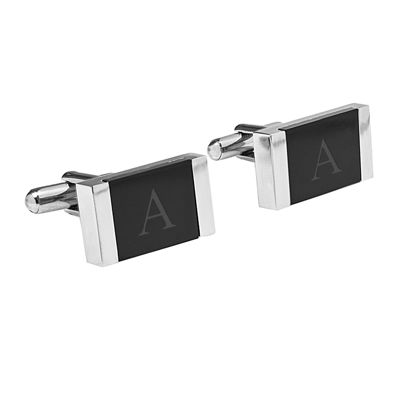 Personalized Faux Onyx Stainless Steel Cufflinks