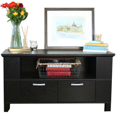"Manero 44"" Black Wood Entertainment Center"