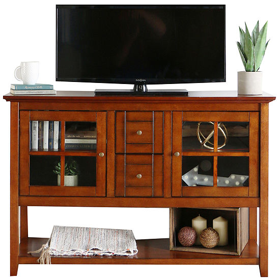 "Bailey 52"" Wood Console Table Entertainment Center"
