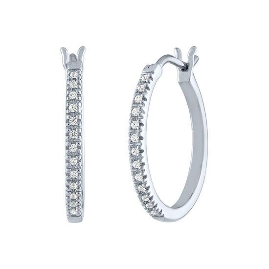 1 10 Ct Tw Genuine White Diamond Sterling Silver Hoop Earrings