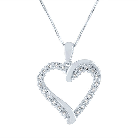 Womens 1/10 CT. T.W. Genuine Diamond Sterling Silver Heart Pendant Necklace
