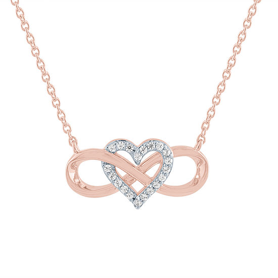 Womens 1/10 CT. T.W. Genuine Diamond 14K Rose Gold Over Silver Heart Pendant Necklace