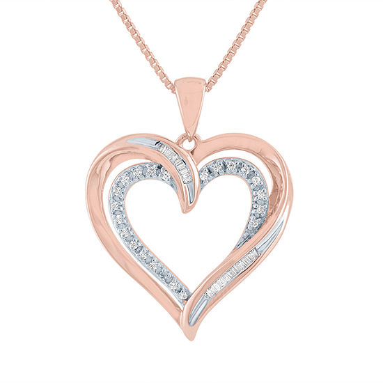 Womens 1 10 Ct Tw Genuine Diamond 14k Rose Gold Over Silver Heart Pendant Necklace