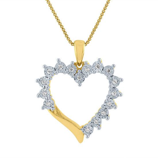 Womens 1/10 CT. T.W. Genuine Diamond 14K Gold Over Silver Heart Pendant Necklace