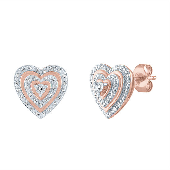 1/10 CT. T.W. Genuine Diamond 14K Rose Gold Over Silver 11.9mm Heart Stud Earrings