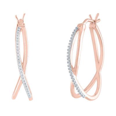 1/10 CT. T.W. Genuine Diamond 14K Rose Gold Over Silver 24mm Hoop Earrings