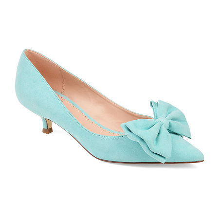 1960s Style Clothing & 60s Fashion Journee Collection Womens Orana Pumps Slip-on Pointed Toe Kitten Heel 8 Medium Blue $55.99 AT vintagedancer.com