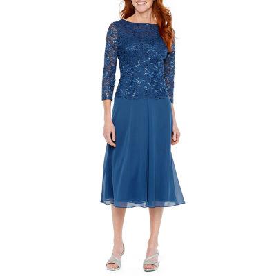 Jackie Jon 3/4 Sleeve Lace Fit & Flare Dress