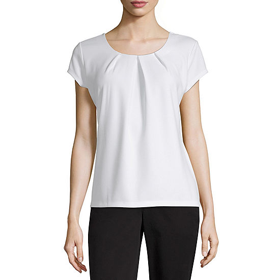 Liz Claiborne Short Sleeve Textured Tee - Tall