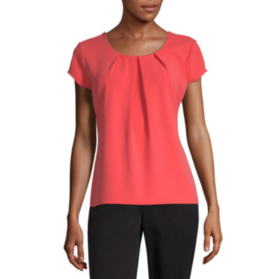 Liz Claiborne Short Sleeve Textured Tee - Tall