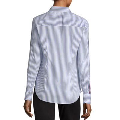 Worthington Womens Long Sleeve Button-Front Shirt-Tall