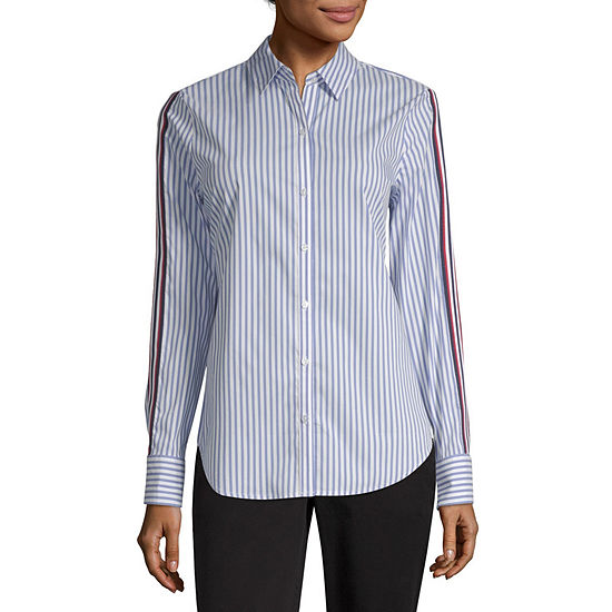 Worthington-Tall Womens Long Sleeve Button-Front Shirt