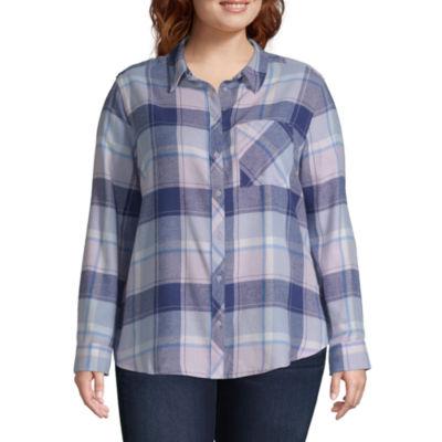 Arizona Womens Long Sleeve Button-Front Shirt-Juniors Plus
