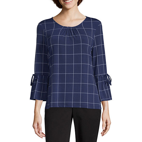 Liz Claiborne 3/4 Tie Sleeve Knit Top