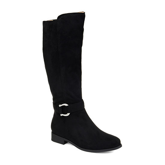 c349fdb35a4 Journee Collection Womens Cate Extra Wide Calf Stacked Heel Zip Riding Boots