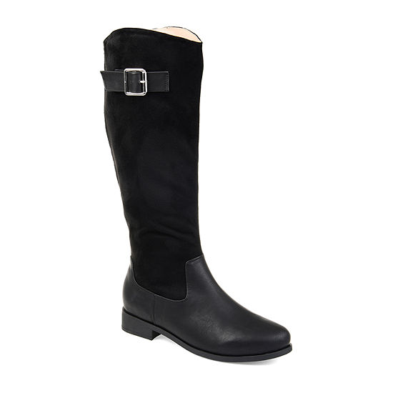 Journee Collection Womens Frenchy Extra Wide Calf Stacked Heel Zip Riding Boots