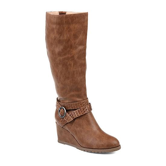 Journee Collection Womens Garin Extra Wide Calf Dress Zip Boots Wedge Heel