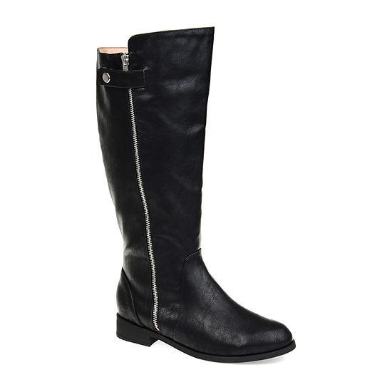 Journee Collection Womens Kasim Wide Calf Stacked Heel Zip Riding Boots