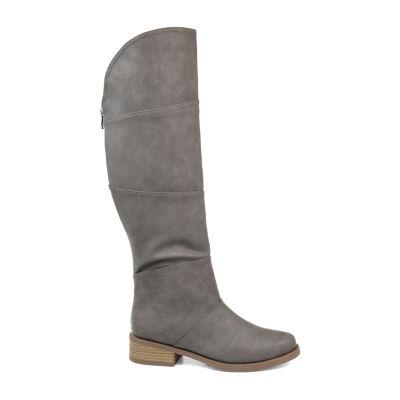 Journee Collection Womens Jc Vanesa-Wc Stacked Heel Zip Riding Boots